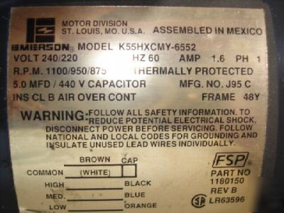New emerson k55hxcmy 6552 motor 240 220 v 1 ph 60 hz for Electric motor repair fort worth