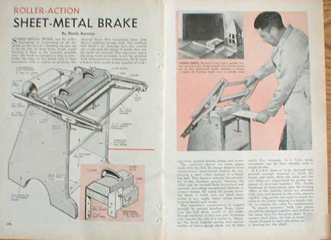 Floor Standing Roller Action Sheet Metal Brake Plans